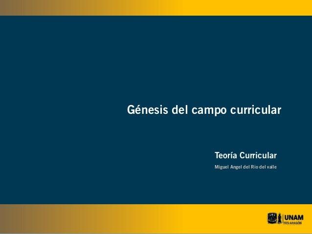 Génesis del campo curricular  Teoría Curricular Miguel Angel del Rio del valle