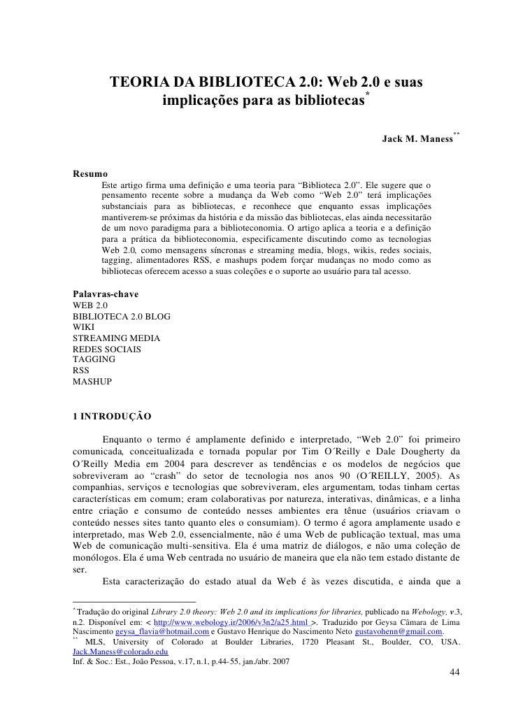 TEORIA DA BIBLIOTECA 2.0: Web 2.0 e suas               implicações para as bibliotecas*                                   ...