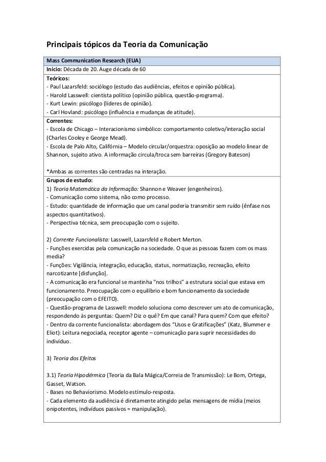 Principais tópicos da Teoria da ComunicaçãoMass Communication Research (EUA)Início: Década de 20. Auge década de 60Teórico...