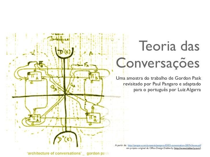 Teoria dasConversaçõesUma amostra do trabalho de Gordon Pask  revisitado por Paul Pangaro e adaptado        para o portugu...