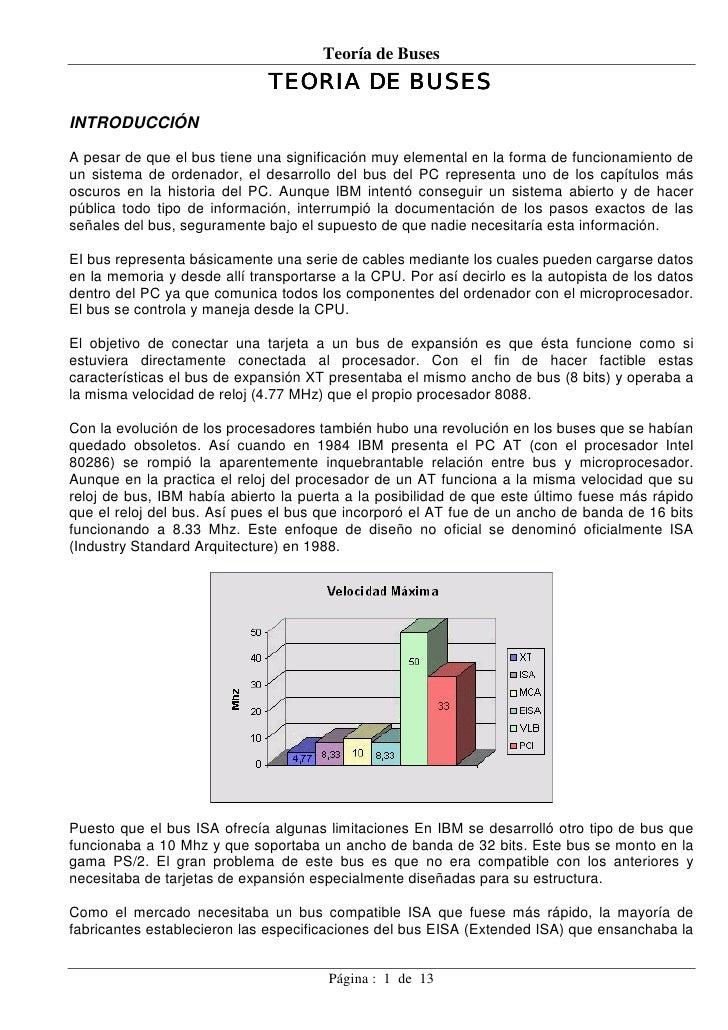 Teoría de Buses                               TEORIA DE BUSES INTRODUCCIÓN  A pesar de que el bus tiene una significación ...