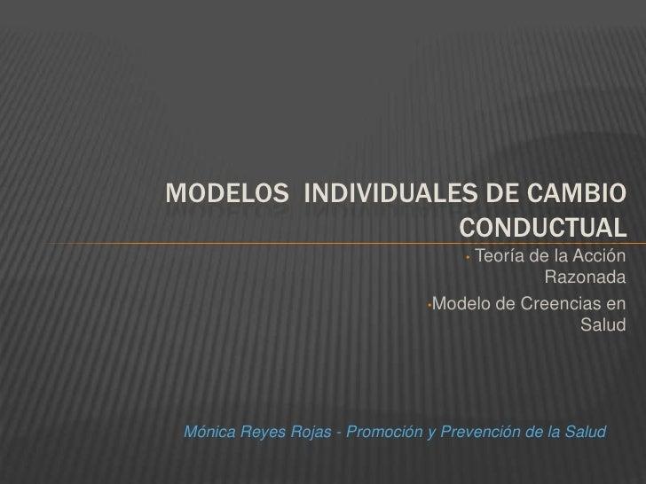 MODELOS  INDIVIDUALES DE CAMBIO CONDUCTUAL<br /><ul><li> Teoría de la Acción Razonada