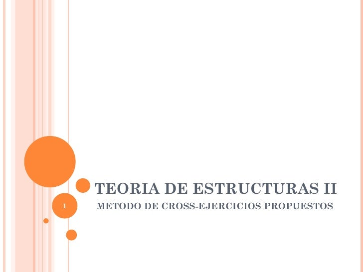 TEORIA DE ESTRUCTURAS II1   METODO DE CROSS-EJERCICIOS PROPUESTOS