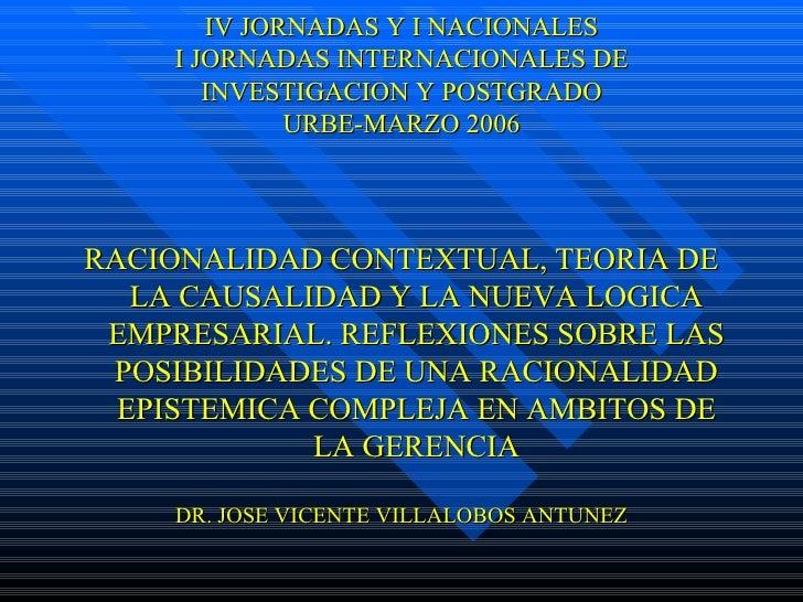 IV JORNADAS Y I NACIONALES I JORNADAS INTERNACIONALES DE INVESTIGACION Y POSTGRADO URBE-MARZO 2006 <ul><li>RACIONALIDAD CO...