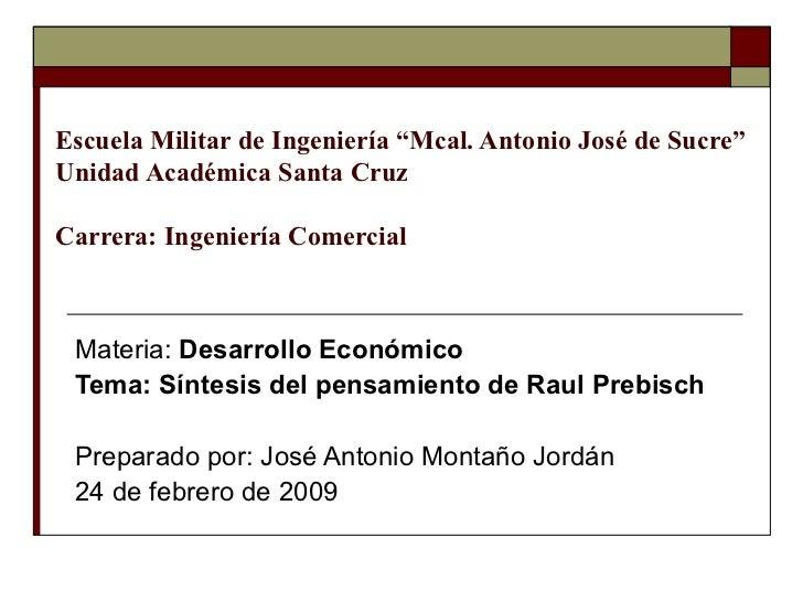 """Escuela Militar de Ingeniería """"Mcal. Antonio José de Sucre"""" Unidad Académica Santa Cruz Carrera: Ingeniería Comercial Mate..."""