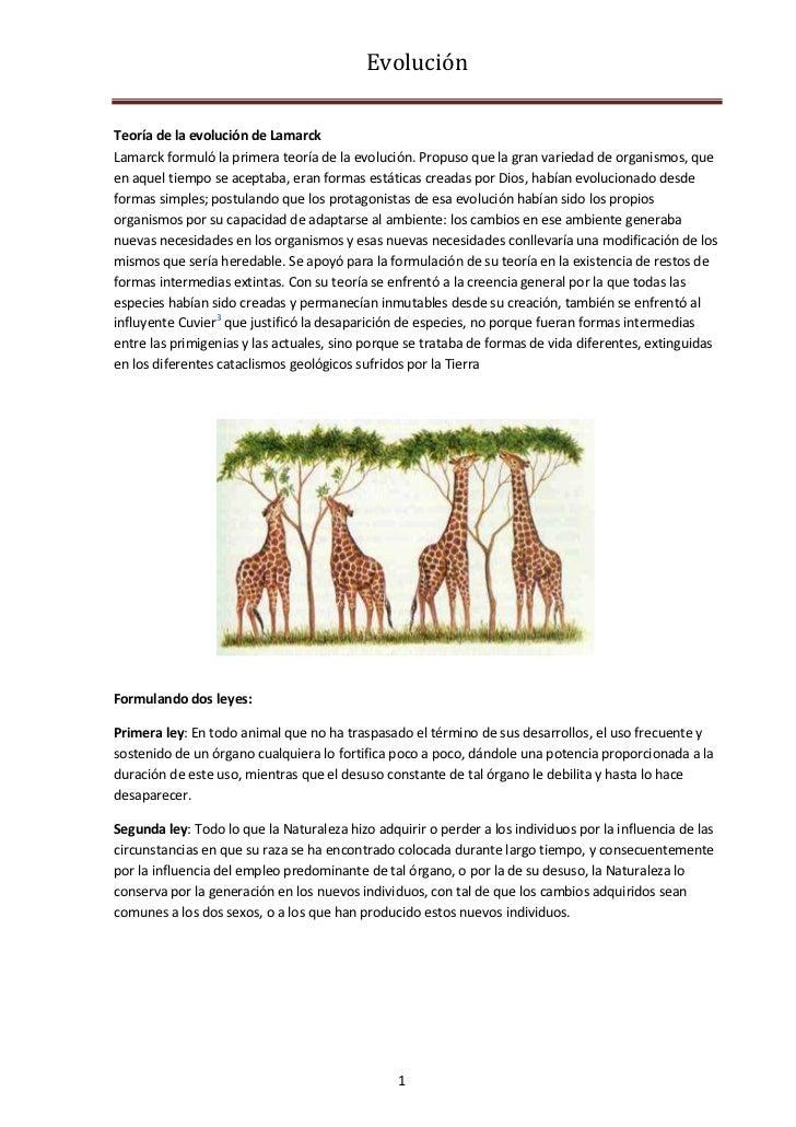 EvoluciónTeoría de la evolución de LamarckLamarck formuló la primera teoría de la evolución. Propuso que la gran variedad ...
