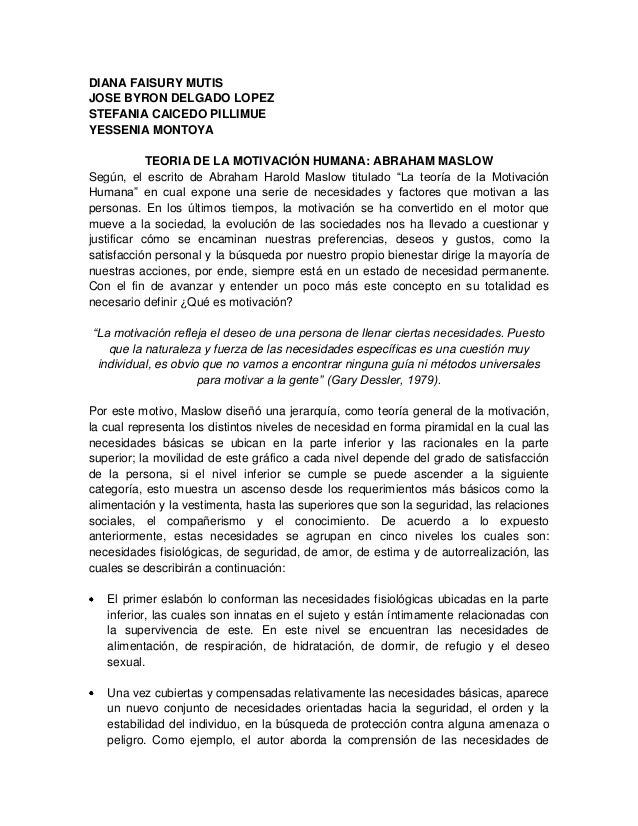 DIANA FAISURY MUTIS JOSE BYRON DELGADO LOPEZ STEFANIA CAICEDO PILLIMUE YESSENIA MONTOYA TEORIA DE LA MOTIVACIÓN HUMANA: AB...