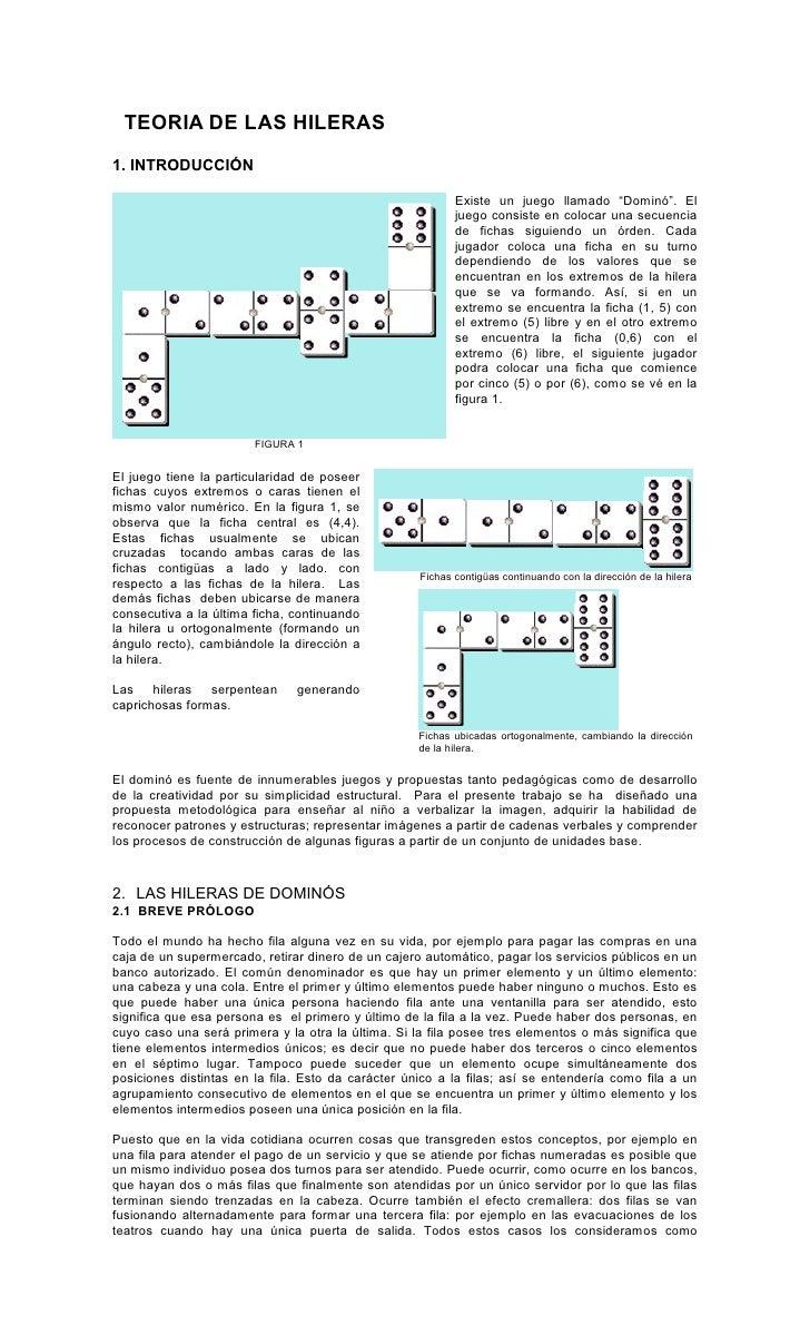 TEORIA DE LAS HILERAS 1. INTRODUCCIÓN                                                             Existe un juego llamado ...