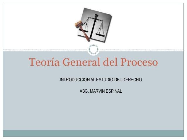 Introduccion al Derecho, Teoria del proceso, Abg. Marvin Espinal