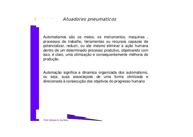 Sensores e atuadores_Atuadores Pneumaticos 1 Prof. Edilson A. da Silva Curso: Automação e controle Atuadores pneumaticos A...