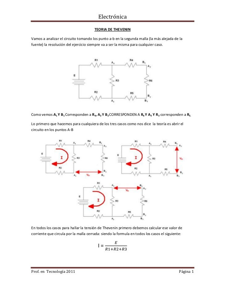 TEORIA DE THEVENIN<br />Vamos a analizar el circuito tomando los punto a-b en la segunda malla (la más alejada de la fuent...