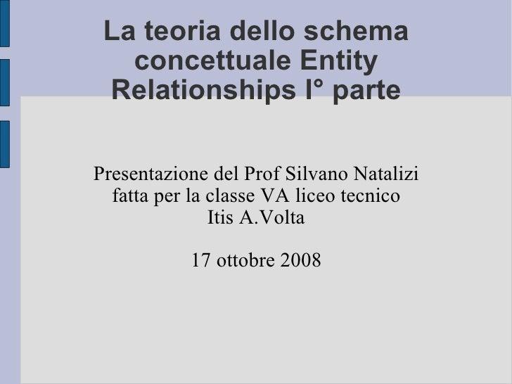 La teoria dello schema concettuale Entity Relationships I° parte Presentazione del Prof Silvano Natalizi fatta per la clas...