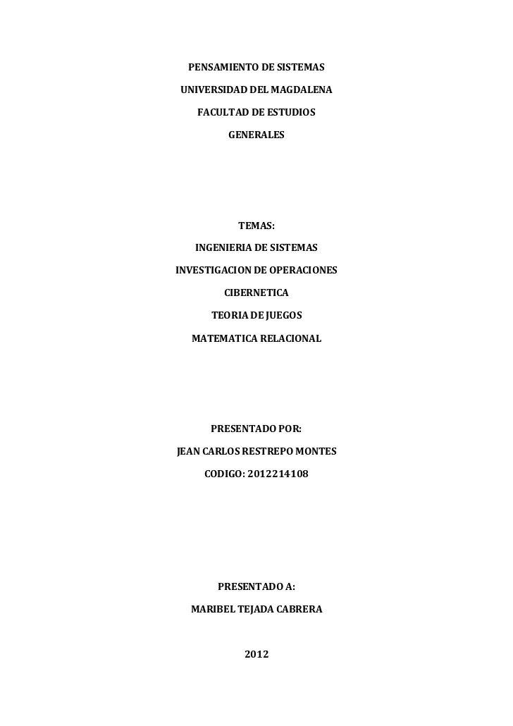 PENSAMIENTO DE SISTEMASUNIVERSIDAD DEL MAGDALENA   FACULTAD DE ESTUDIOS         GENERALES          TEMAS:   INGENIERIA DE ...