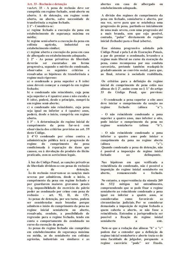 Art. 33 - Reclusão e detenção vasArt. 33 - A pena de reclusão deve ser cumprida em regime fechado, semi-aberto ou aberto. ...