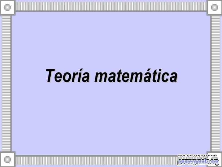 Teoria matematica 11270