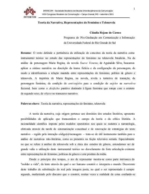 Teoria narrativa representações do feminino telenovela