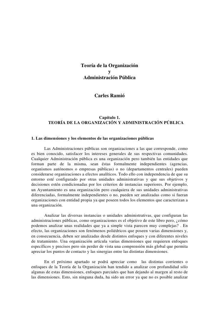 Teoría de la Organización                                        y                            Administración Pública      ...
