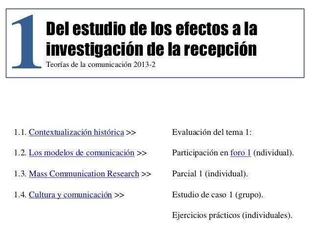 1Del estudio de los efectos a la investigación de la recepción Teorías de la comunicación 2013-2 1.1. Contextualización hi...