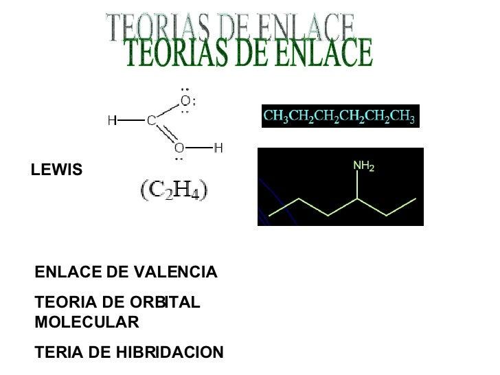 TEORIAS DE ENLACE LEWIS ENLACE DE VALENCIA TEORIA DE ORBITAL MOLECULAR TERIA DE HIBRIDACION