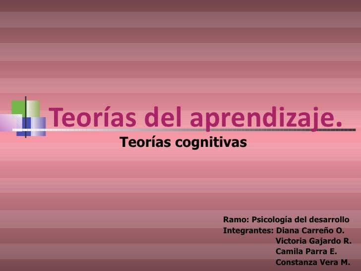 Teorías del aprendizaje . Ramo: Psicología del desarrollo Integrantes: Diana Carreño O.   Victoria Gajardo R.   Camila Par...