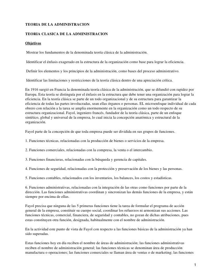 TEORIA DE LA ADMINISTRACIONTEORIA CLASICA DE LA ADMINISTRACIONObjetivosMostrar los fundamentos de la denominada teoría clá...