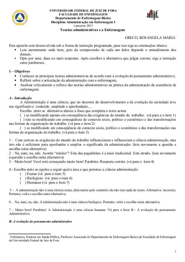 UNIVERSIDADE FEDERAL DE JUIZ DE FORA FACULDADE DE ENFERMAGEM  Departamento de Enfermagem Básica Disciplina Administração e...