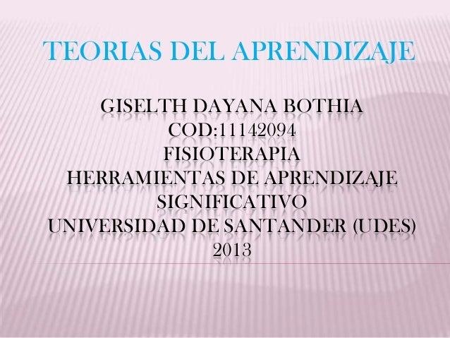 TEORIAS DEL APRENDIZAJE    GISELTH DAYANA BOTHIA          COD:11142094          FISIOTERAPIA HERRAMIENTAS DE APRENDIZAJE  ...