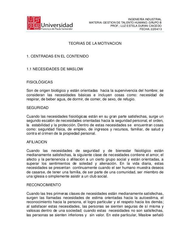 INGENIERÍA INDUSTRIALMATERIA: GESTION DE TALENTO HUMANO. GRUPO BPROF.: LUZ ESTELA DURAN CAICEDOFECHA: 22/04/13TEORIAS DE L...