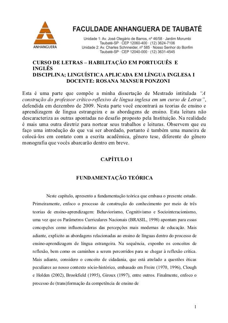 CURSO DE LETRAS – HABILITAÇÃO EM PORTUGUÊS E    INGLÊS    DISCIPLINA; LINGUÍSTICA APLICADA EM LÍNGUA INGLESA I            ...