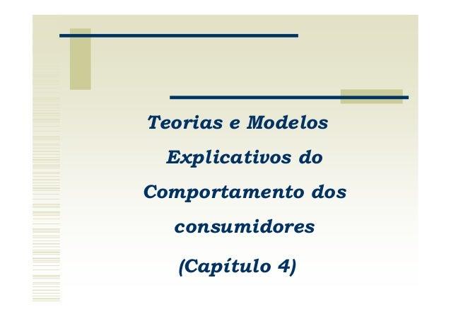 Teorias e Modelos Explicativos doComportamento dos  consumidores   (Capítulo 4)