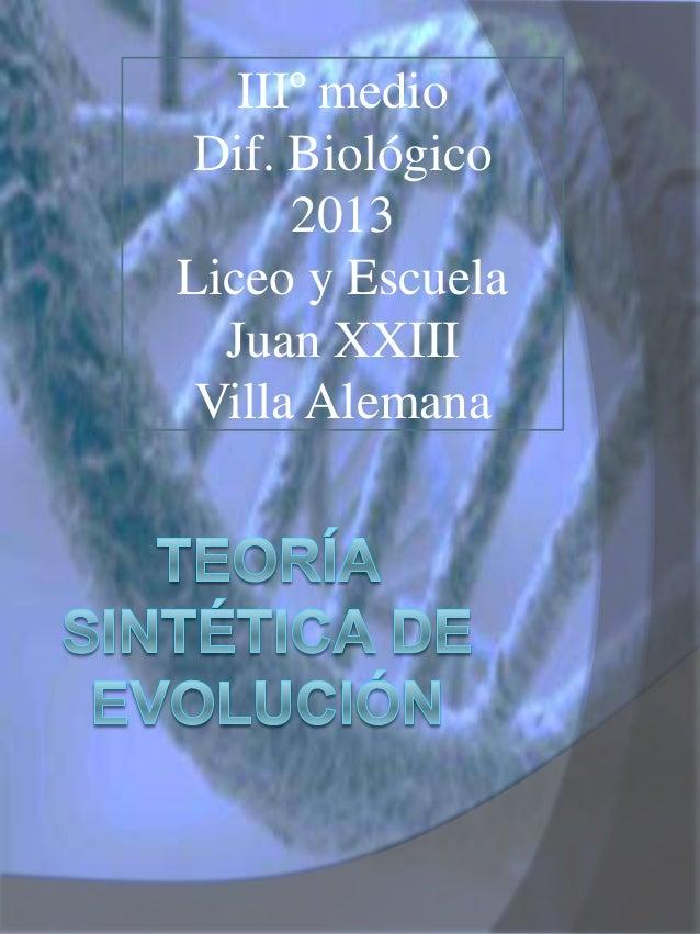 Teoria de la Evolucion Sintetica Teoria Sintetica de la