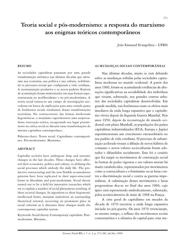 Teoria social e pós-modernismo: a resposta do marxismo aos enigmas teóricos contemporâneos                                ...