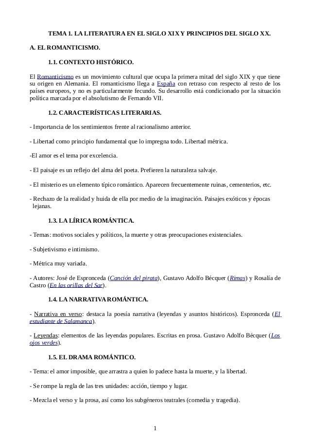 TEMA 1. LA LITERATURA EN EL SIGLO XIX Y PRINCIPIOS DEL SIGLO XX. A. EL ROMANTICISMO. 1.1. CONTEXTO HISTÓRICO. El Romantici...