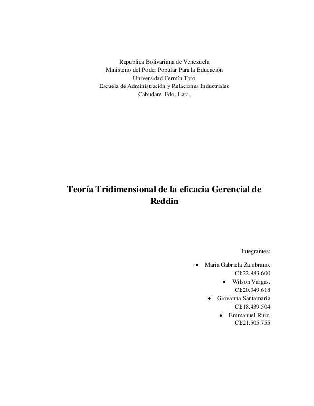 Republica Bolivariana de Venezuela Ministerio del Poder Popular Para la Educación Universidad Fermín Toro Escuela de Admin...