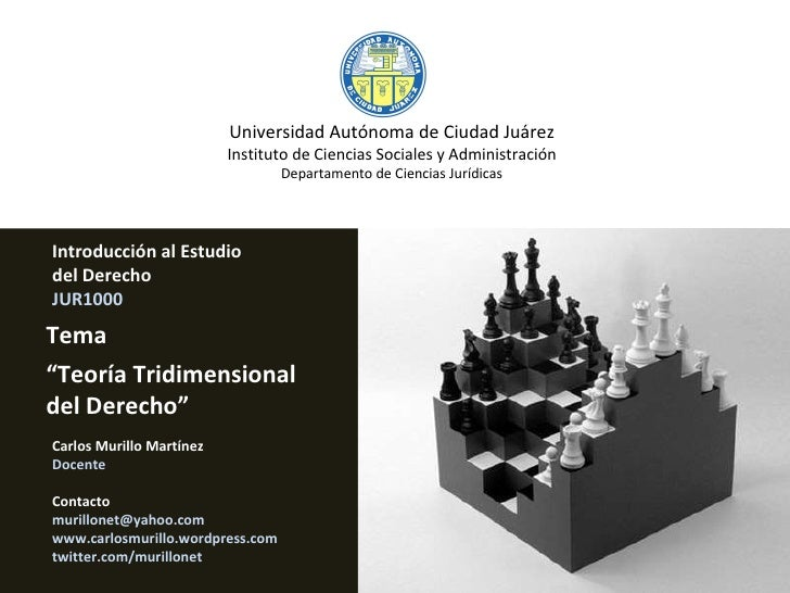 """Introducción al Estudio  del Derecho JUR1000 Tema """" Teoría Tridimensional del Derecho"""" Universidad Autónoma de Ciudad Juár..."""
