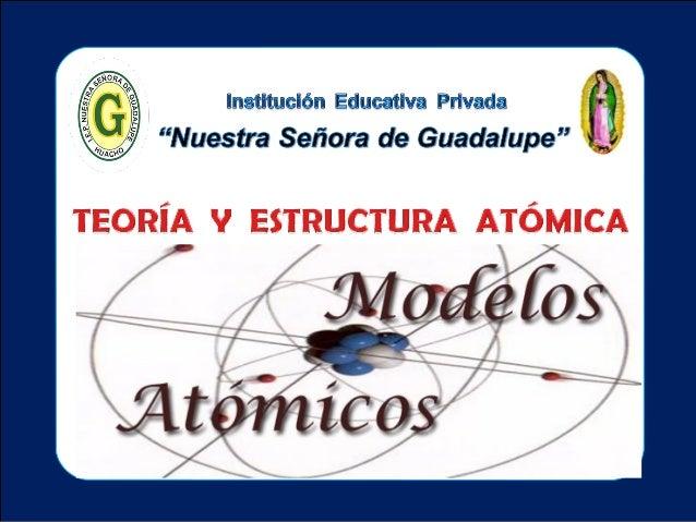 Tema: Teoría y estructura atómica II - Unidad : Ciencia Tecnología y ambiente I.E.P «Nuestra Señora de Guadalupe» TEORÍAS ...