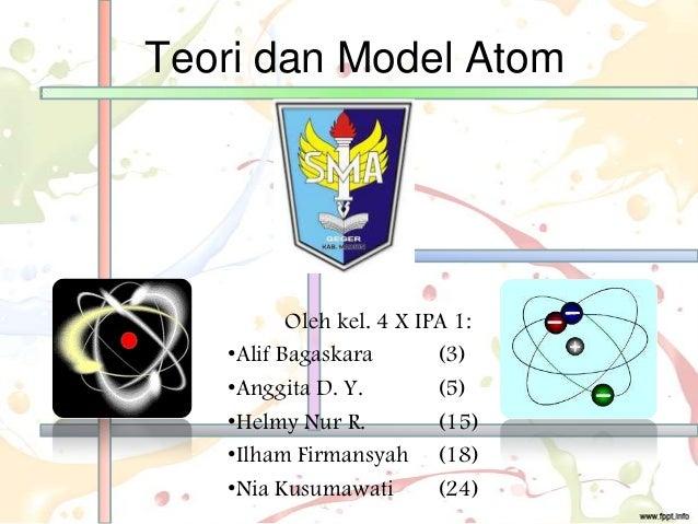Teori dan Model Atom Oleh kel. 4 X IPA 1: •Alif Bagaskara (3) •Anggita D. Y. (5) •Helmy Nur R. (15) •Ilham Firmansyah (18)...