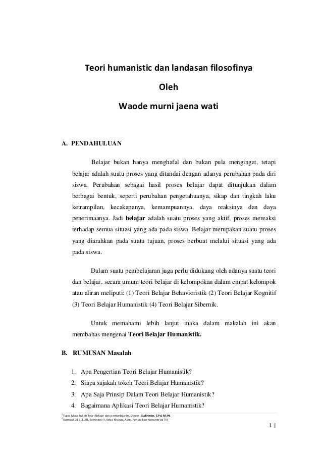 1 Tugas Mata kuliah Teori Belajar dan pembelajaran, Dosen : Sudirman, S.Pd, M.Pd 2 Stambuk 21311181, Semester II, Kelas Kh...
