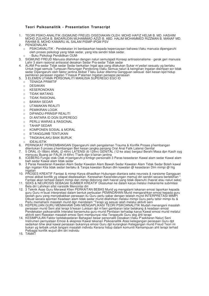 Teori Psikoanalitik - Presentation Transcript  1.  TEORI PSIKO-ANALITIK (SIGMUND FREUD) DISEDIAKAN OLEH: MOHD HAFIZ HELMI ...