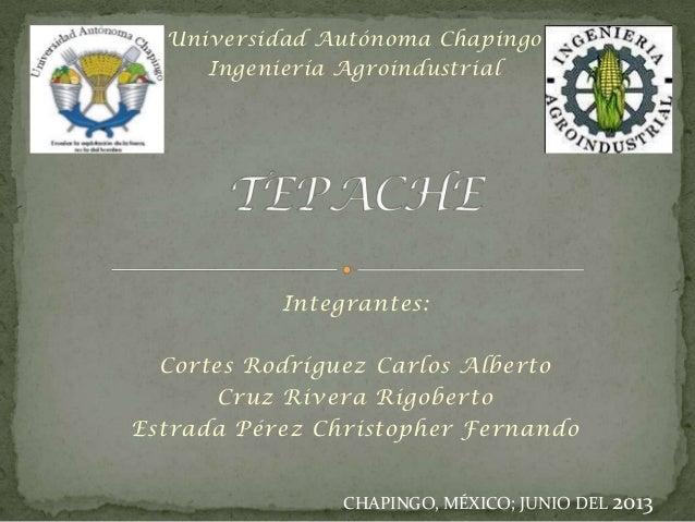 Universidad Autónoma Chapingo Ingeniería Agroindustrial  Integrantes: Cortes Rodríguez Carlos Alberto Cruz Rivera Rigobert...