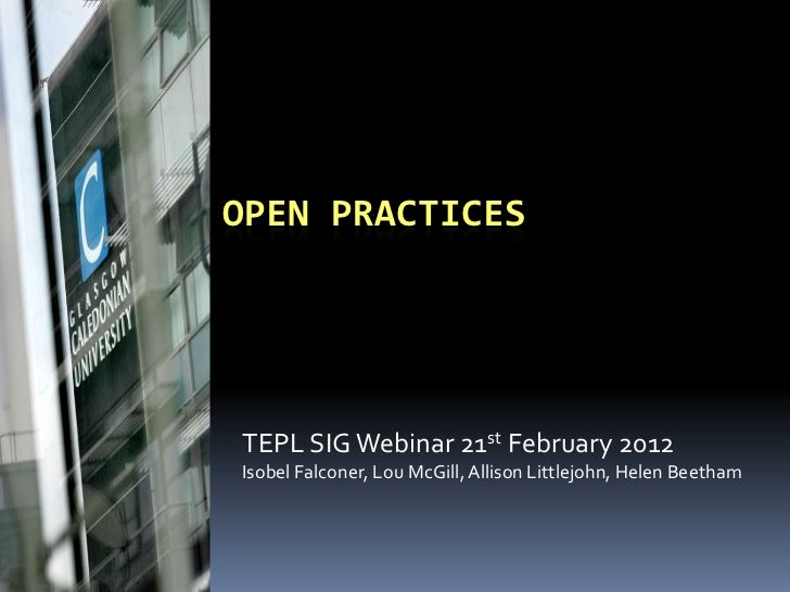 Open practices TELP-SIG webinar