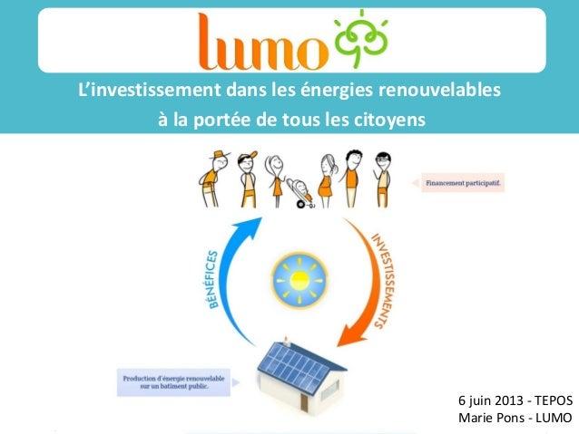 /14/11/12 L'investissement dans les énergies renouvelables à la portée de tous les citoyens Sss ss 6 juin 2013 - TEPOS Mar...
