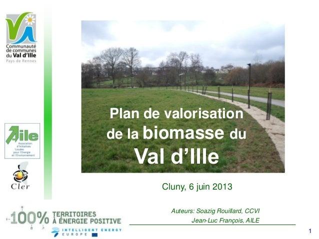 Plan de valorisation de la biomasse du Val d'Ille Cluny, 6 juin 2013 Auteurs: Soazig Rouillard, CCVI Jean-Luc François, AI...