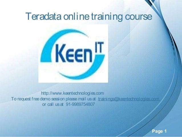 Teradata Online Training Course