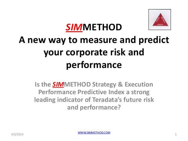 SIMMETHOD A new way to measure and predict your corporate risk and performance Is the SIMMETHOD Strategy & Execution Perfo...