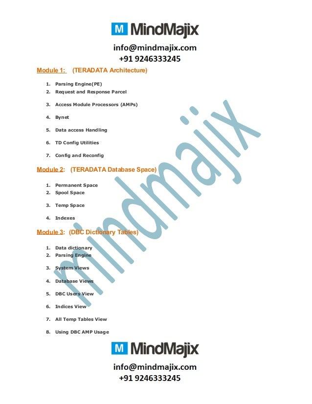 Module 1: (TERADATA Architecture) 1. Parsing Engine(PE) 2. Request and Response Parcel 3. Access Module Processors (AMPs) ...