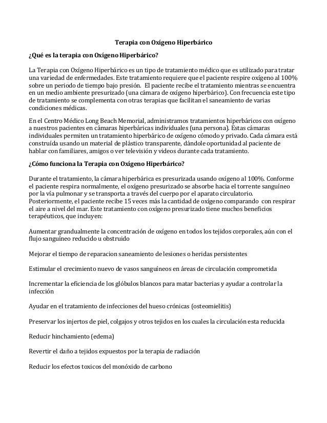 Terapia con Oxígeno Hiperbárico ¿Qué es la terapia con Oxígeno Hiperbárico? La Terapia con Oxígeno Hiperbárico es un tipo ...