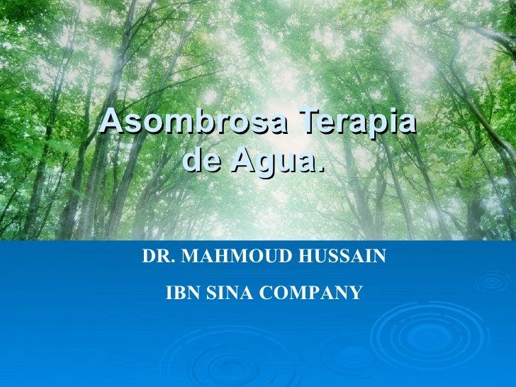 Asombrosa Terapia de Agua.    DR. MAHMOUD HUSSAIN IBN SINA COMPANY