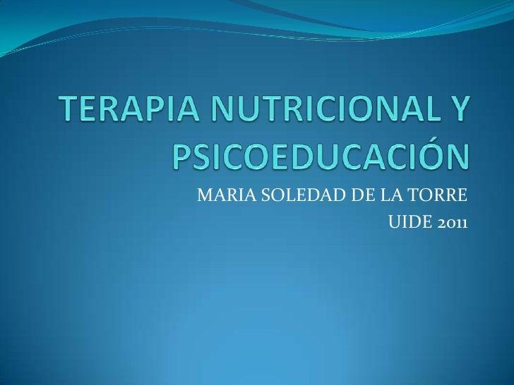 Terapia nutricional y psicoeducación