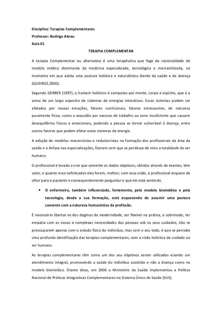 Disciplina: Terapias ComplementaresProfessor: Rodrigo AbreuAula 01                                  TERAPIA COMPLEMENTARA ...